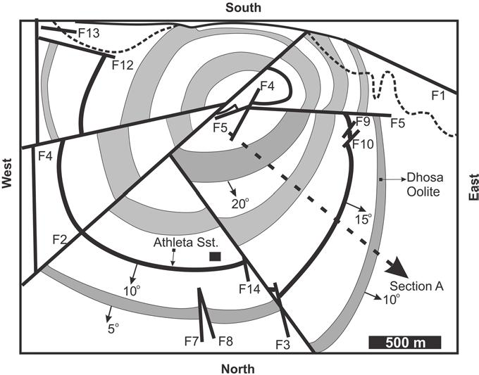 126 S. Jain Fig. 7. Structural map of the Jara Dome showing the recorded section (dashed arrow; Section A; for Fig. 2b). Faults are numbered from F1-14 (modified after Prasad 1998).